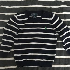 Polo Blue & White Striped Sweater with Green Horse